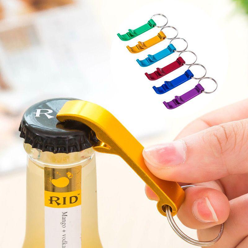 Car Keychain with Beer Bottle Opener LED Flashlight Aluminum Keyring Key Ring