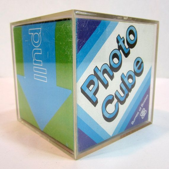 1980s Vintage Clear Plastic Photo Cube Frames With Original