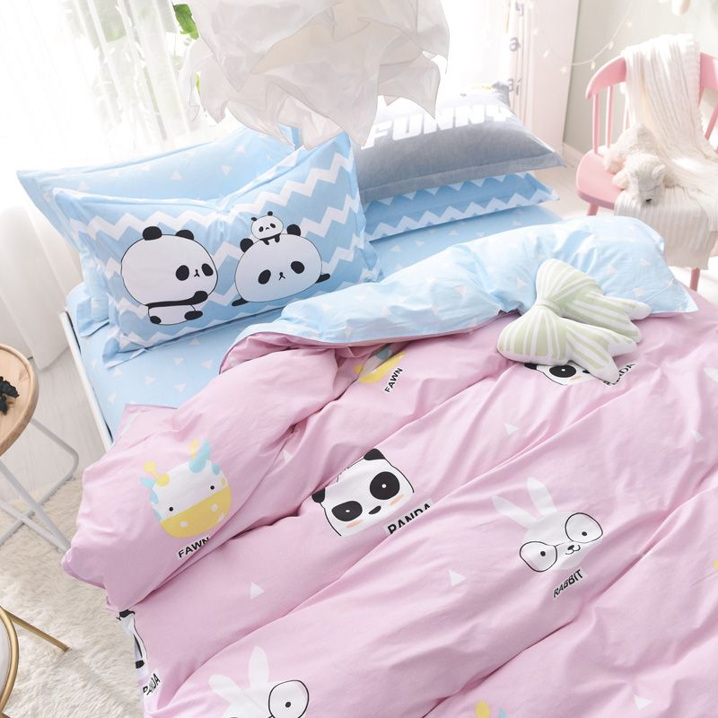 Pink Cotton Duvet Cover With Cute Cartoon Pattern Blue Bed Sheets