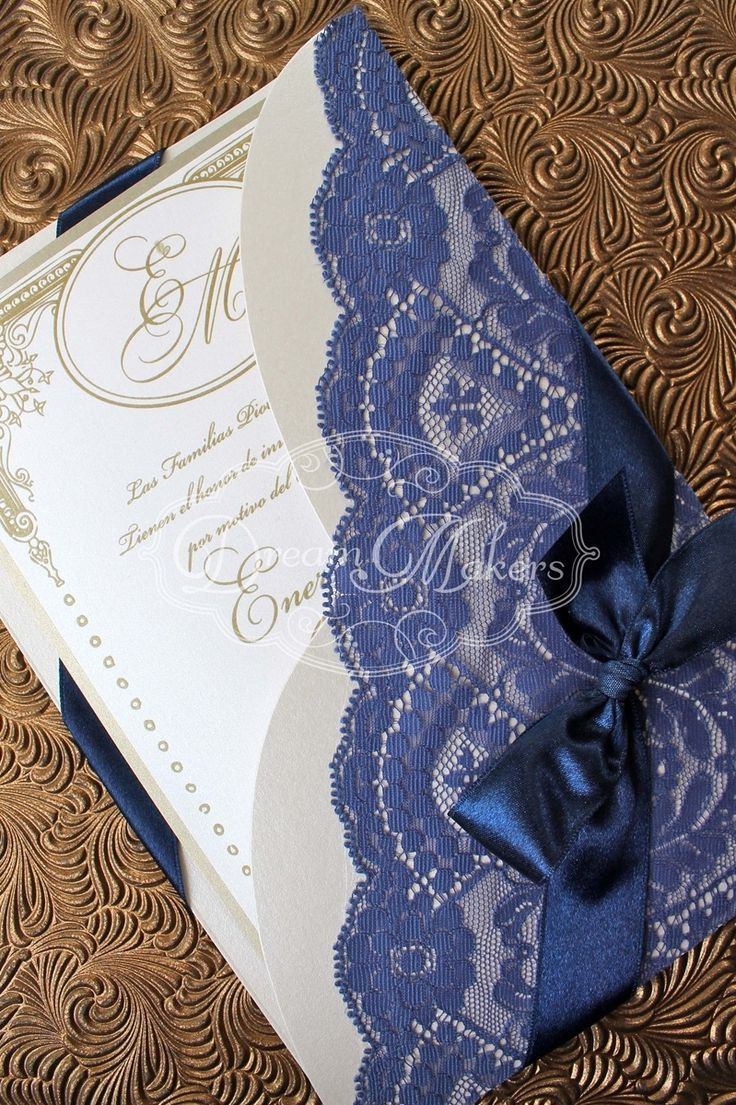 Letu0027s Look At The Lace Wedding Trend: Blue Lace Invitation