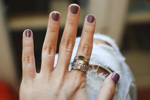 nail polish + stacked rings