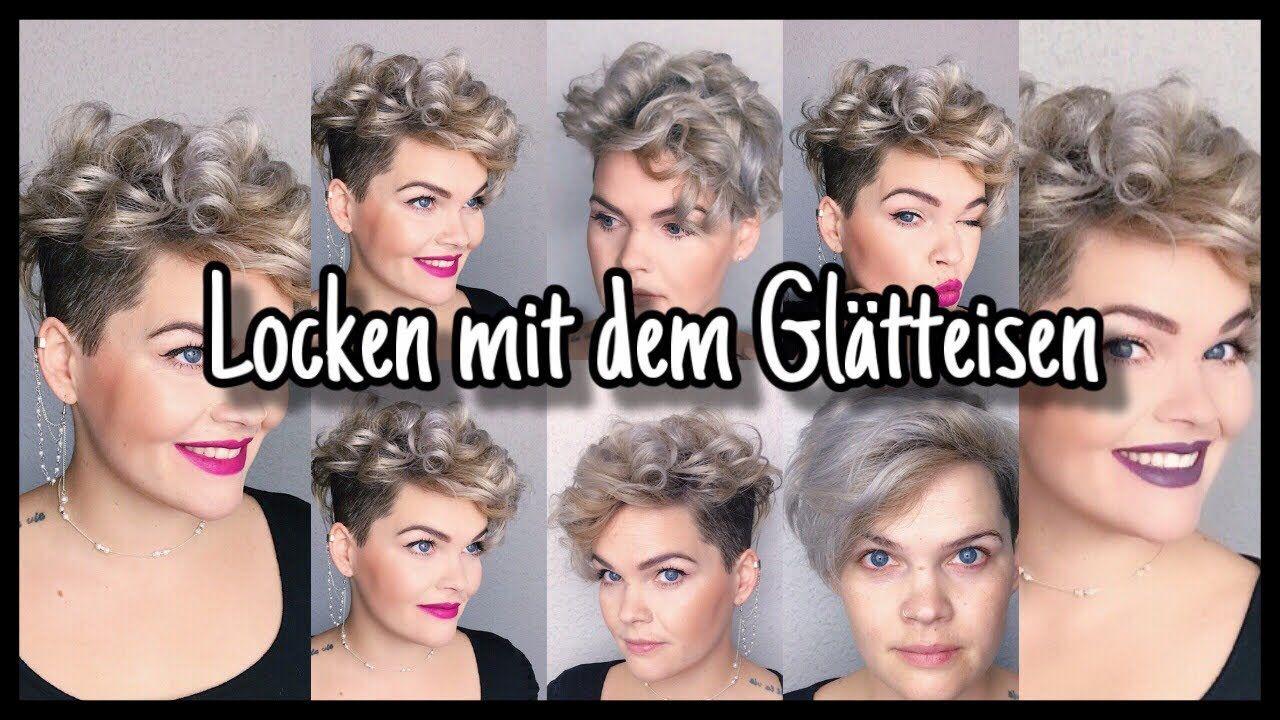 Kurze Haare Locken Mit Dem Gla Tteisen Youtube Kurze Haare Locken Locken Machen Haare Locken