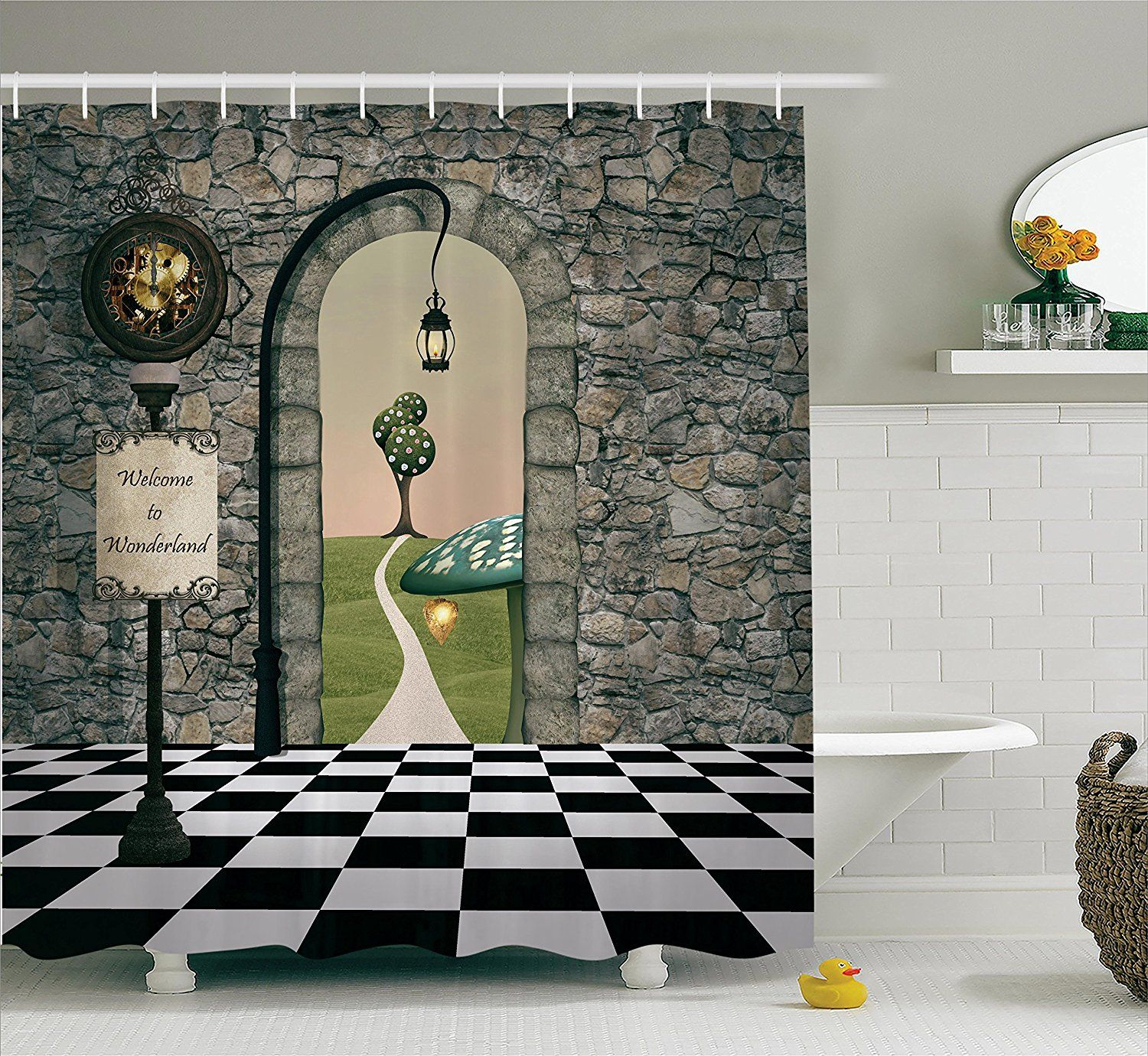 Alice In Wonderland Decorations Shower Curtain Set By Ambesonne