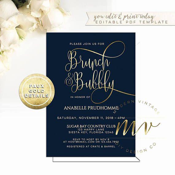 Bubbly brunch bridal shower invitation template navy gold bubbly brunch bridal shower invitation template navy gold filmwisefo Gallery