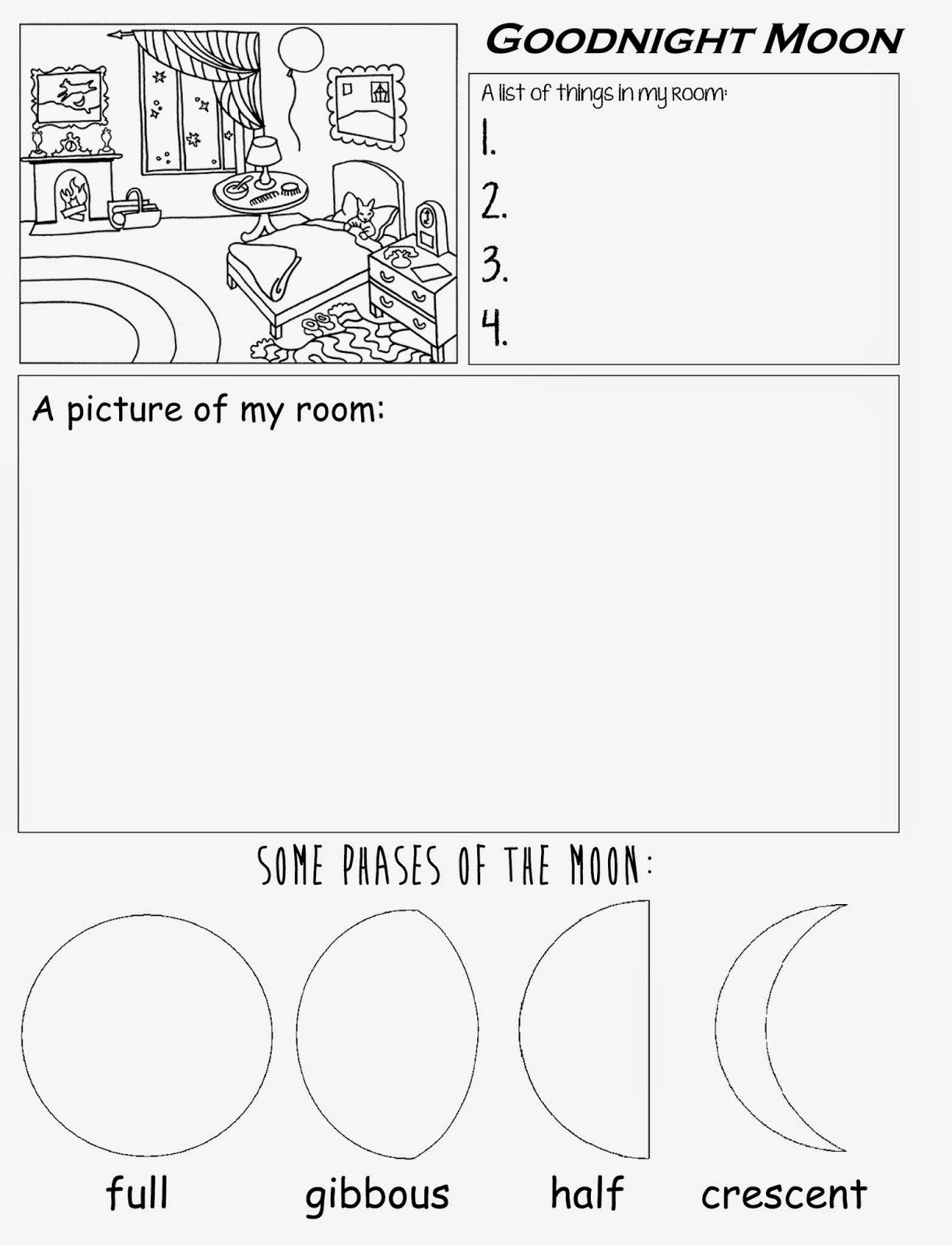 Goodnight Moon Free Printable Worksheet For Preschool Kindergarten Home School
