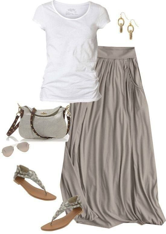 Photo of Not much of a maxi girl, but this stone colored maxi skirt is perfection! Pair w…