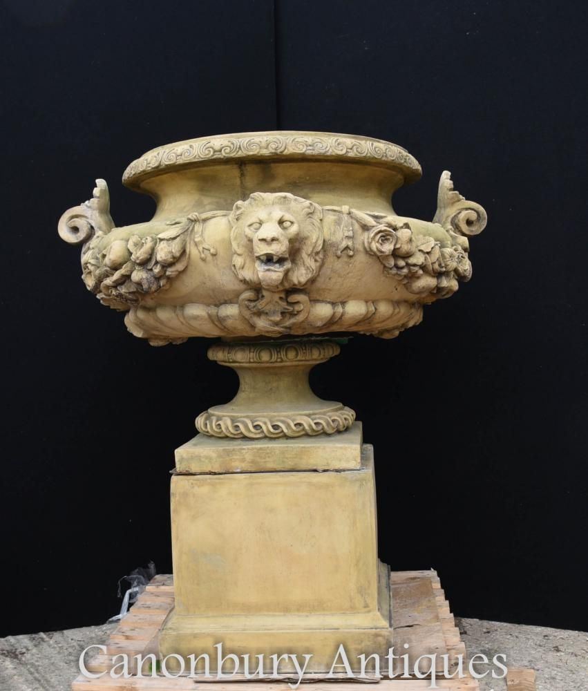 Large English Stone Garden Urn On Pedestal Plinth Classic Architectural  Stone Statues, Garden Stones,