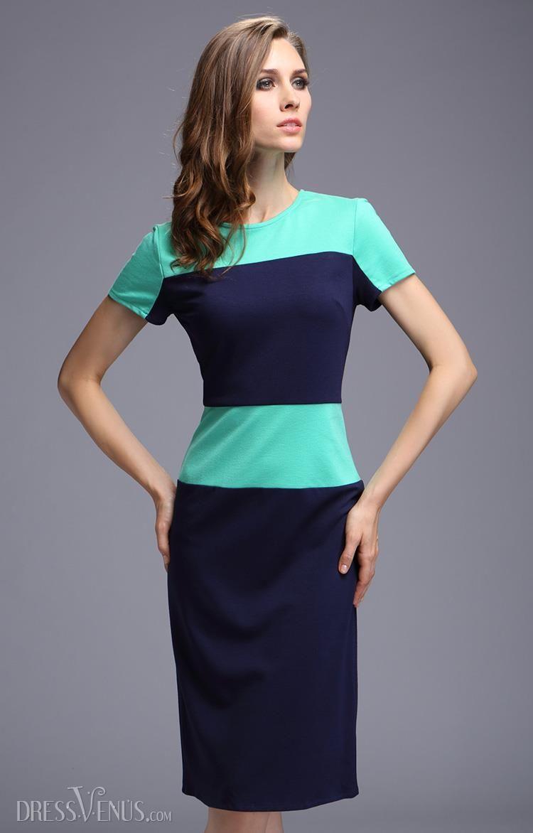 Graceful Color Block Round Neckline Short Sleeve Dress