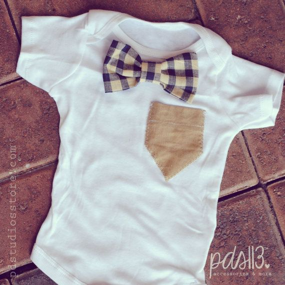 Baby Boy Onesie with Blue Checkered Bow Tie and Beige Pocket, looking like a Gentleman perfect as a Gift. via Etsy LOVE IT!