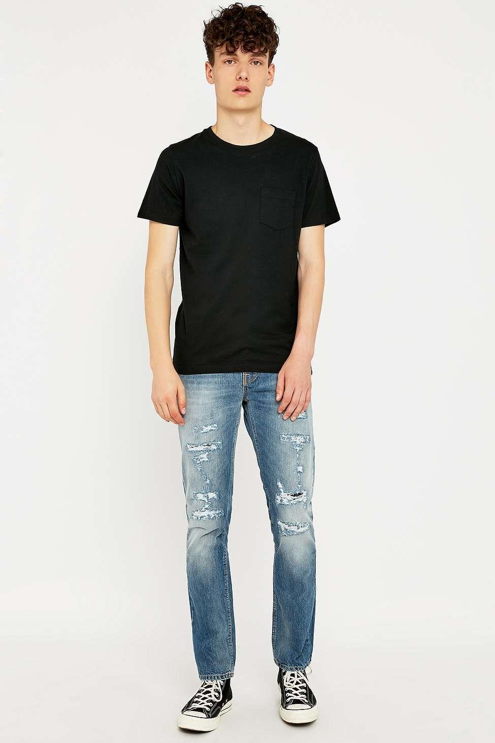 Nudie Jeans Grim Tim 22 Months Ripped Slim Fit Jeans
