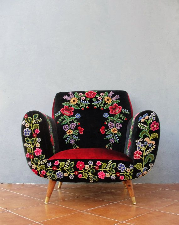 Ordinaire Bohemian Midcentury Armchair Embroidered Flowers, Magical Burlesque  Furniture Vintage Embroidery, Punch Needle Embroidery, Velvet