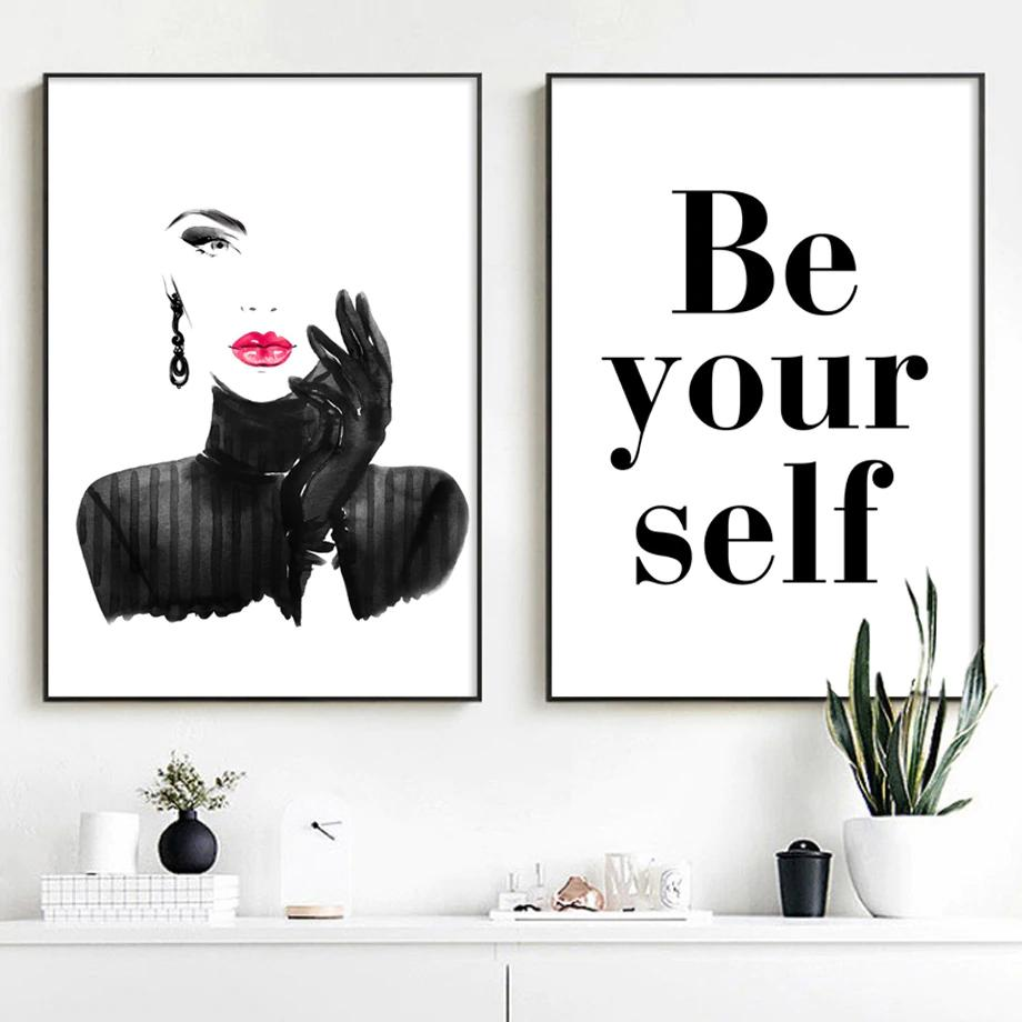 Be Yourself Modern Black White Red Lipstick Glamour Fashion Wall Art Wall Art Canvas Painting Wall Art Quotes Canvas Wall Art