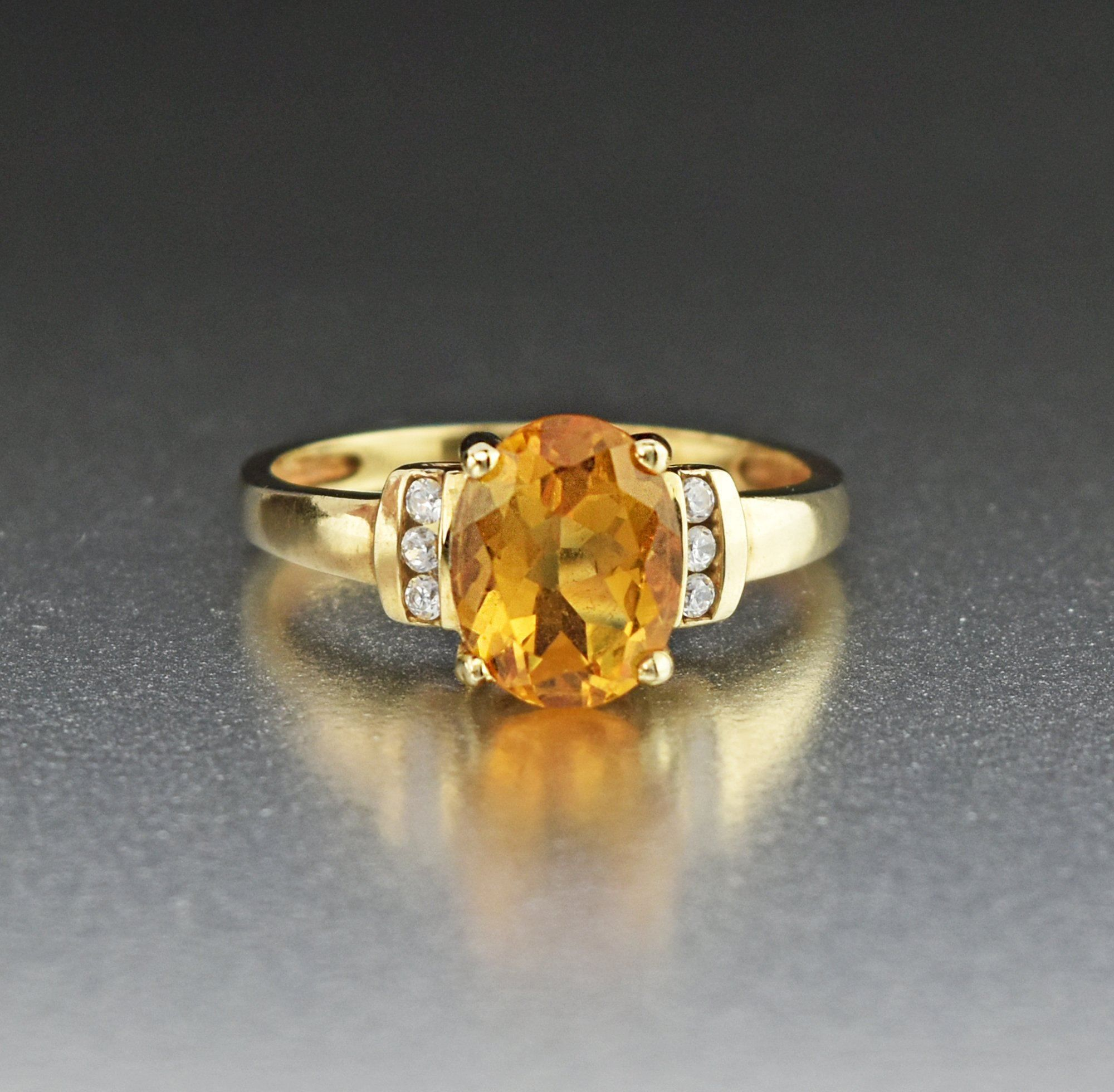10k Gold Citrine Solitaire Ring With Diamond Cz In 2020 Pink Tourmaline Ring Synthetic Diamond Citrine
