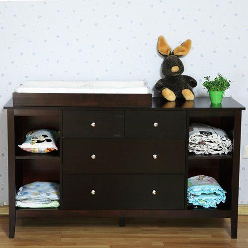 Pine Wood Baby Change Table W/ 7 Drawers In Walnut | Buy Baby U0026 Kids