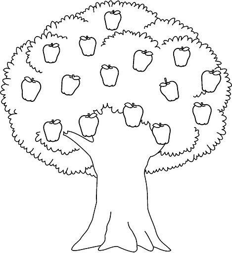 Apple Tree Coloring Pages Printable With Images Tree Coloring