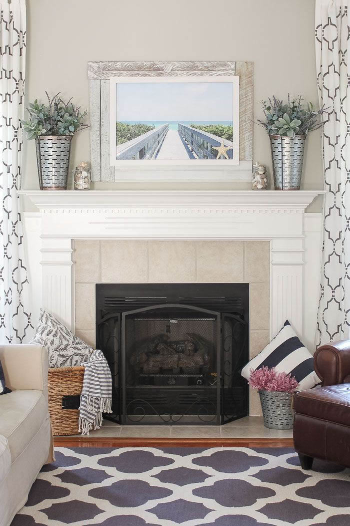 Simple Beachy Summer Mantel images