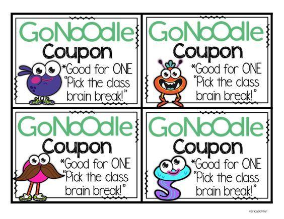 Classroom Coupon Ideas ~ Free gonoodle coupons kindergarten pinterest