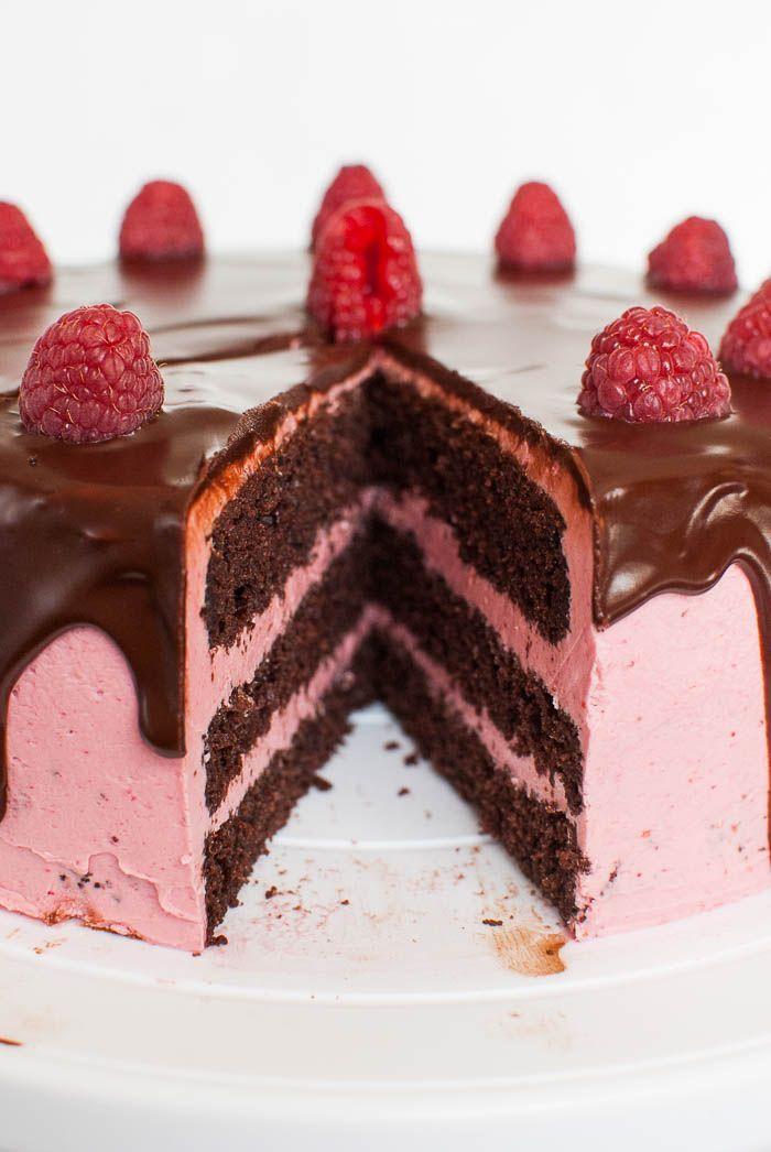 Schoko-Himbeer-Torte mit cremiger Ganache #fondant