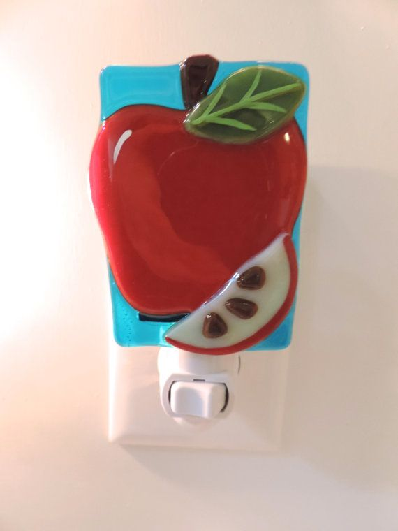 Apple Night Light Blue Background by BFisherCreations on