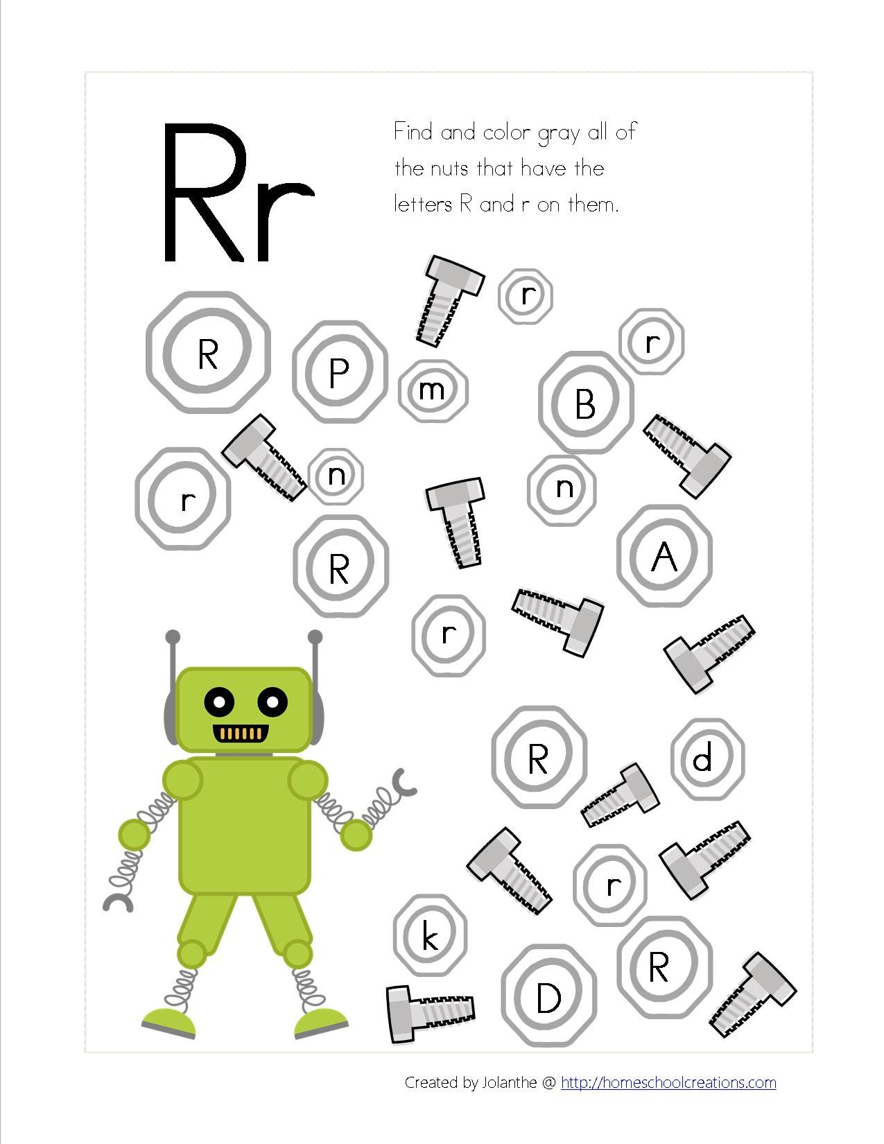 Robot Preschool Pack Part 2 Letter Find 1 275 1 650