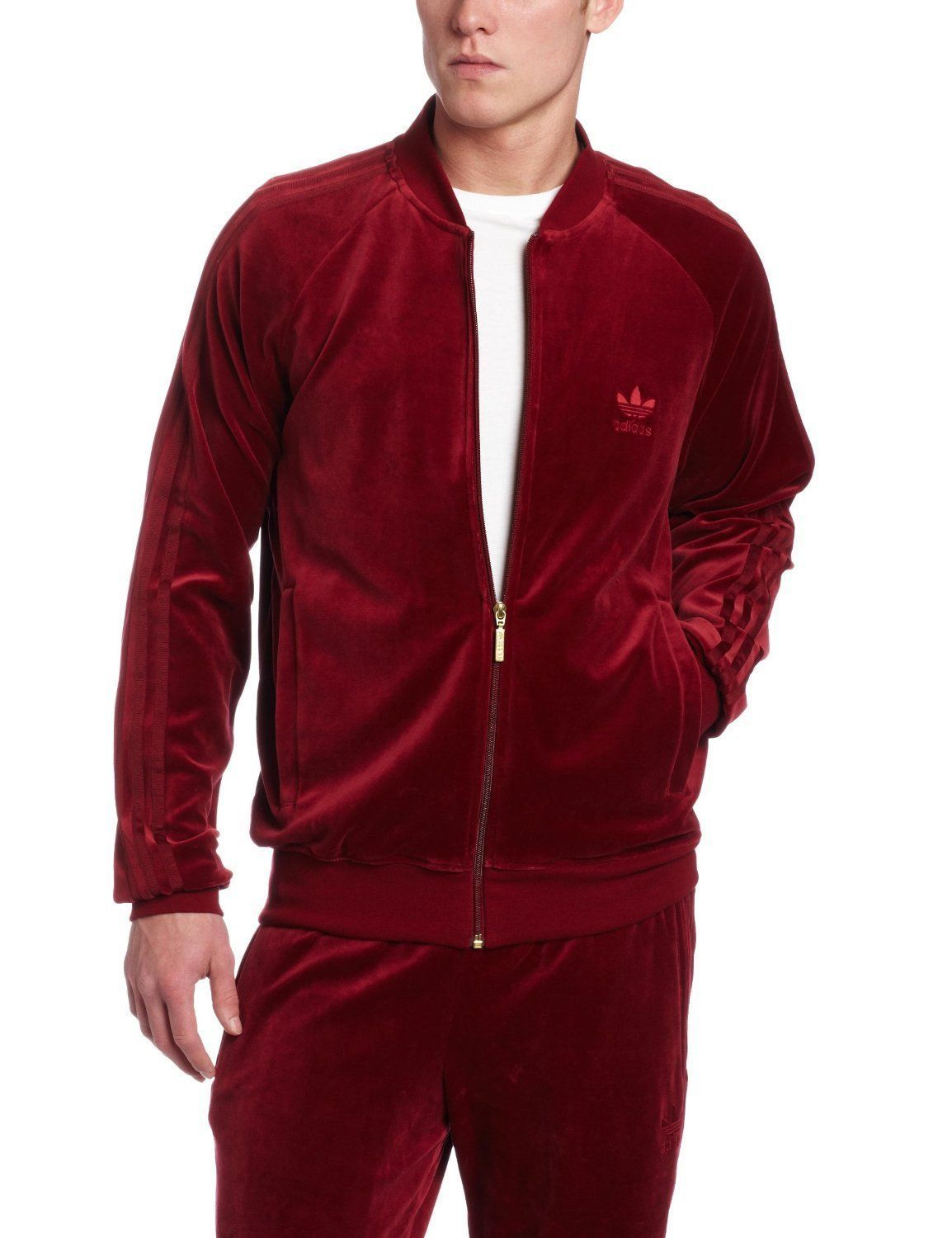ADIDAS ORIGINALS SUPERSTAR MENS VELOUR RED TRACK SUIT SZ 2XL JACKET PANTS