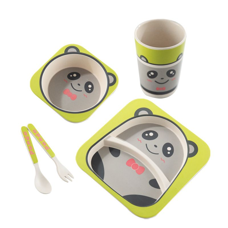 Natural Bamboo Fiber Tableware Set For Kids 5pcs Sets Tableware Set Kids Dinnerware Set Kids Dinner Sets