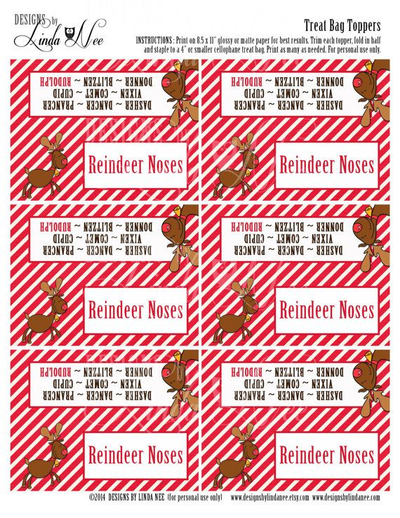 image about Reindeer Noses Printable called Reindeer Noses - Handle Bag Topper - Printable deal with bag
