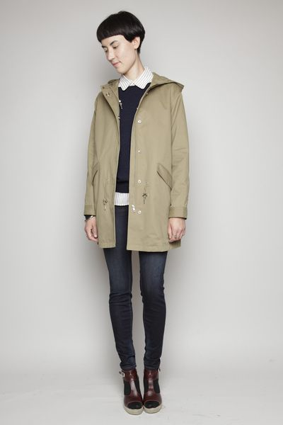 button down + pull over + skinny jeans + parka