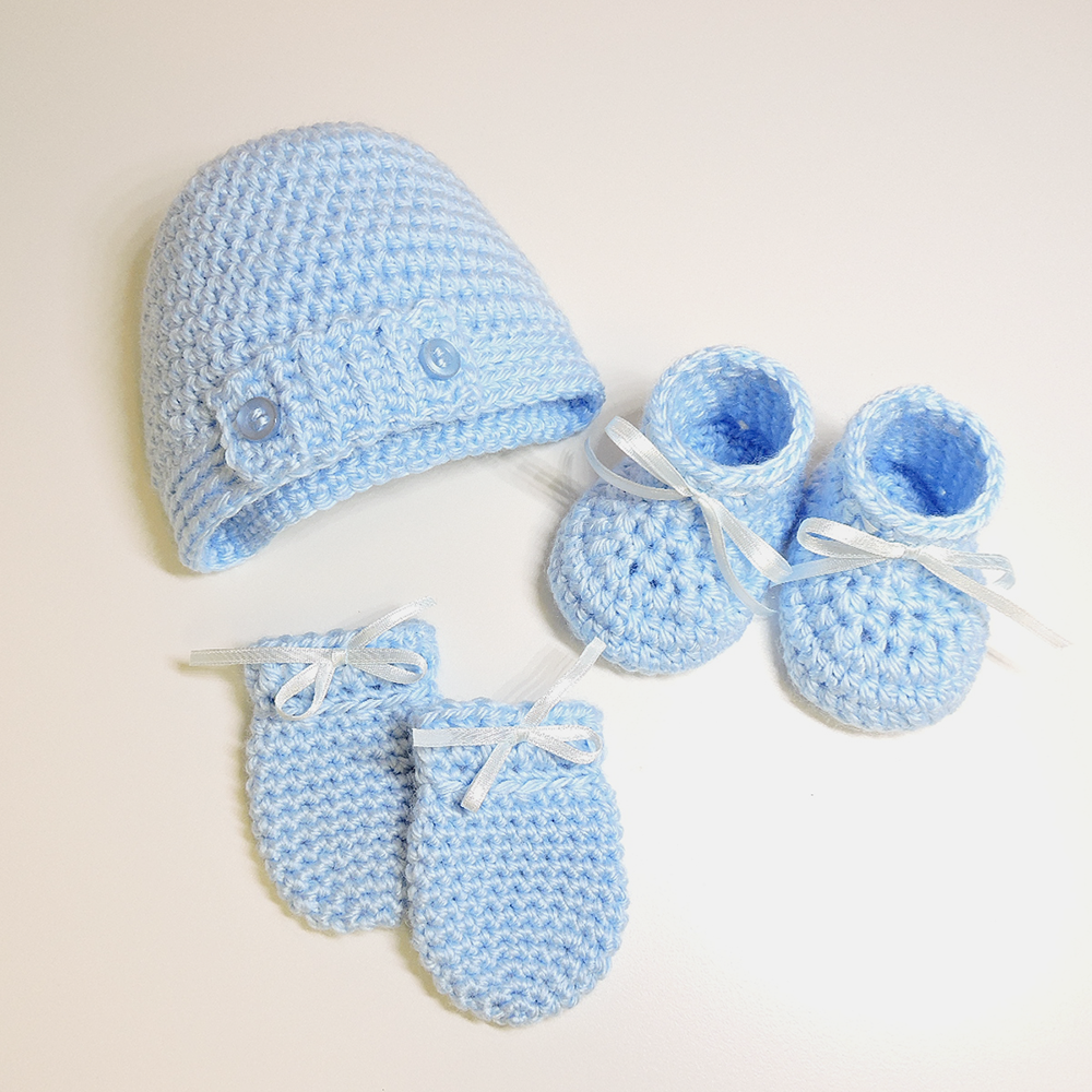 Adorable bebé tejido a Mano Mitón en azul tamaño recién nacido 6