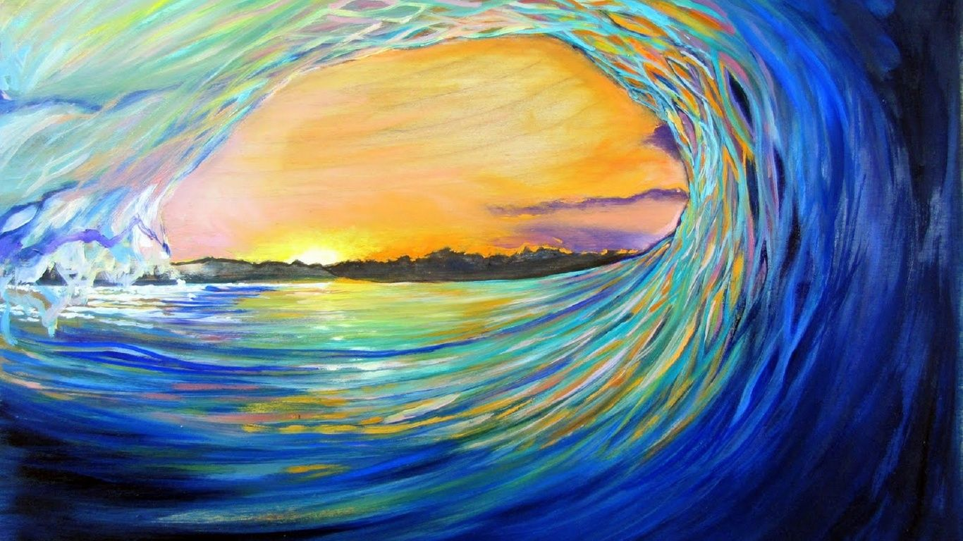 Painting Surfing Wave Surfing Art Colored Surfing Wave