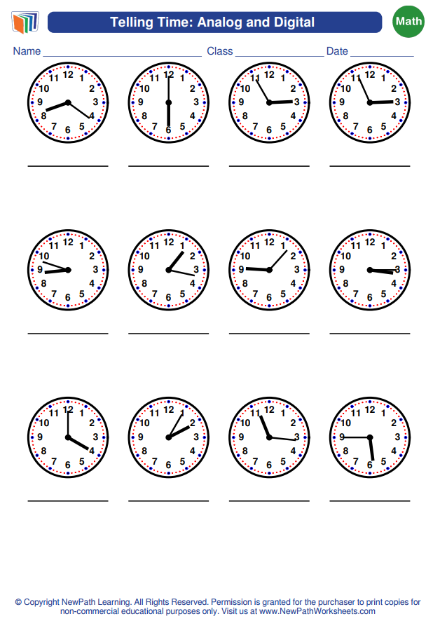 A New Math Worksheet Generator About Telling Time Analog And Digital Has Just Been Released Cre Math Worksheet Worksheet Generator Free Math Worksheets