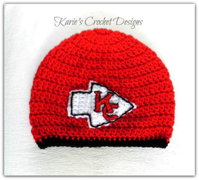2b50f8d94 Kansas City CHIEFS / Team Logo / Beanie / Hat / Crochet Handmade by  KariesCrochetDesigns on