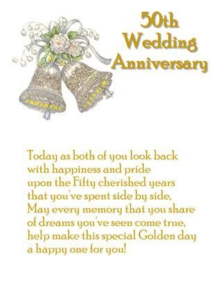 Sentiments for 50 year wedding anniversary