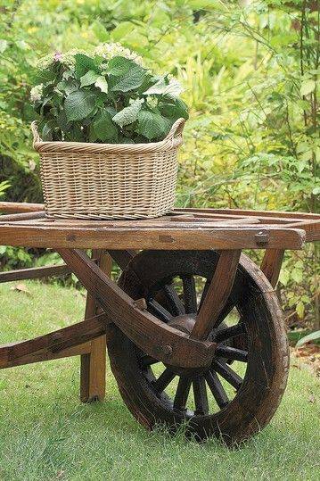Vintage Refurbished Elm Wood Wheelbarrow Table