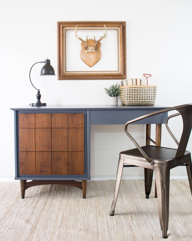 Mid Century Modern Desk Vintage Desk Refinished With Wood