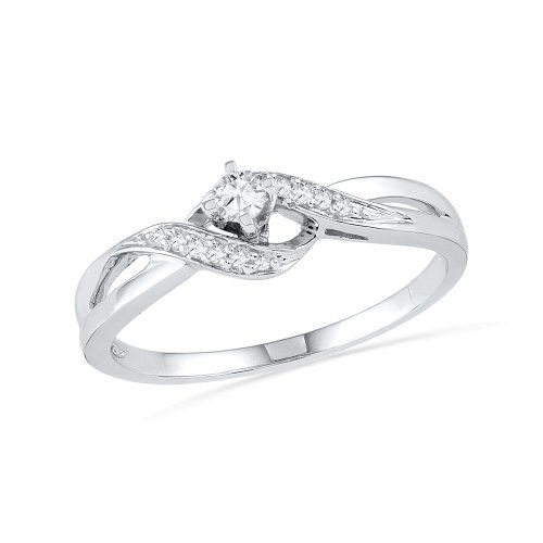 10kt White Gold Round Diamond Twisted Promise Ring 0 12 Cttw List Price 450 00 Price 135 00 Saving 315 Promise Rings White Gold Rings Round Diamonds