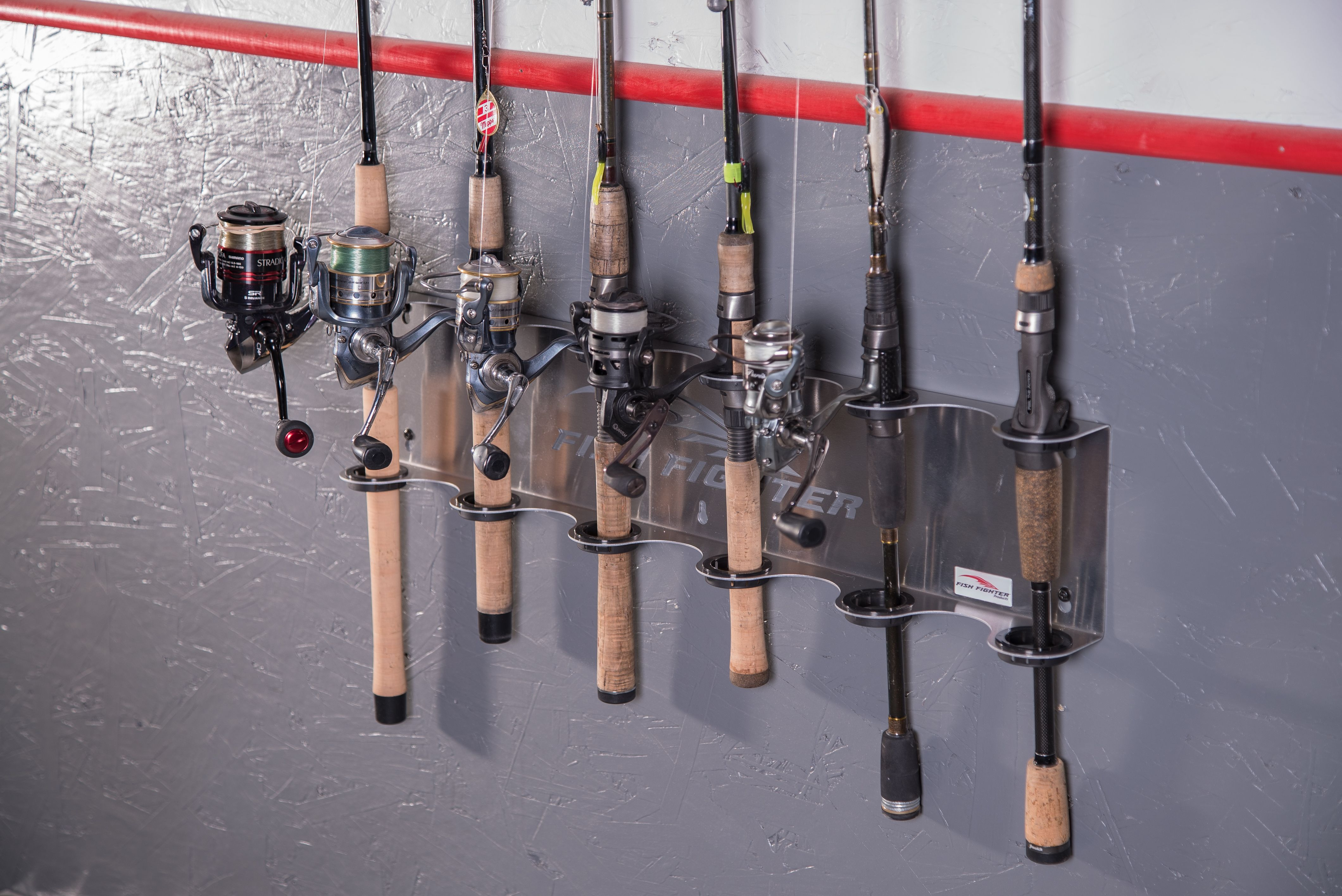 The Fish Fighter Wall Mount Rod Rack Holds 6 Fishing