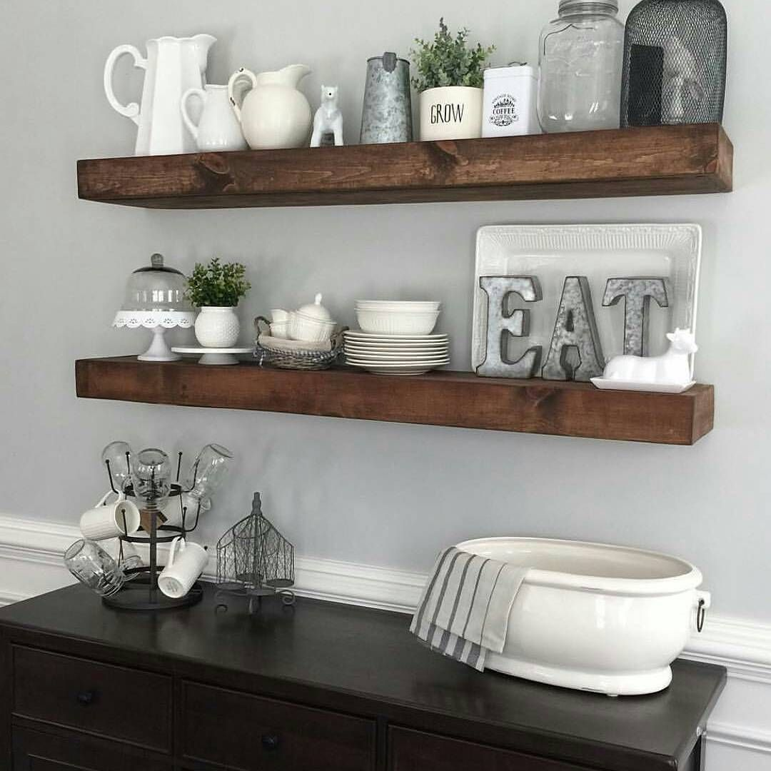 Shanty2chic dining room floating shelves by myneutralnest for Dining room buffet table decorating ideas