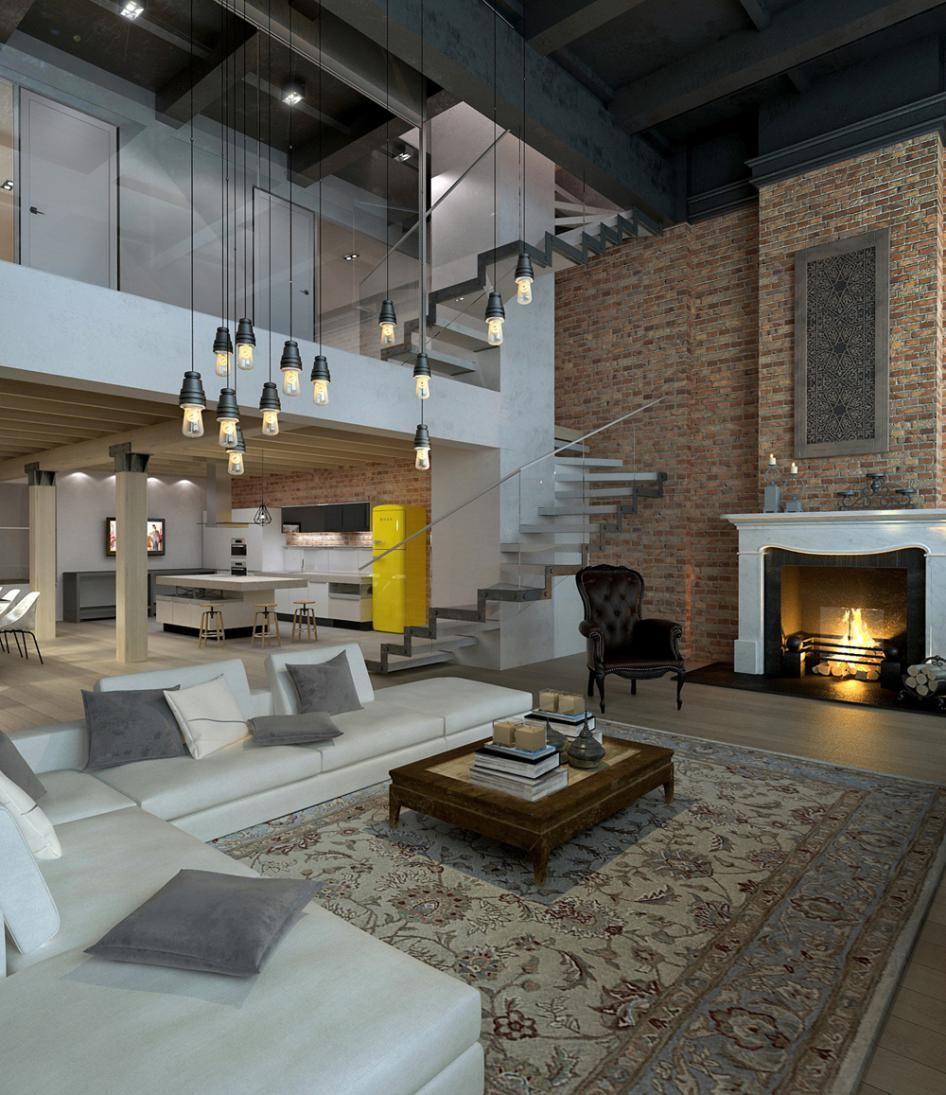 Loft éclectique avec cheminee de style   Loft interior design, Lofts ...