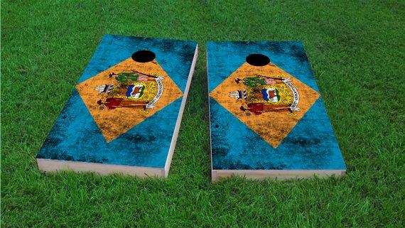 Bag Toss Corn Toss Custom Corn Hole White Delaware Themed 2x4 Custom Cornhole Board Set with bags Bean Bag Toss