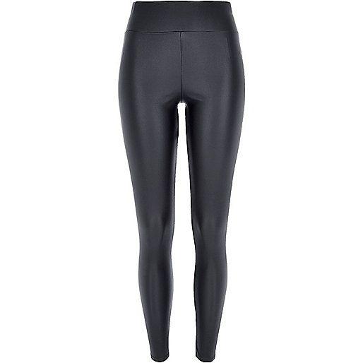Dark grey coated high waisted leggings - £40 #riverisland