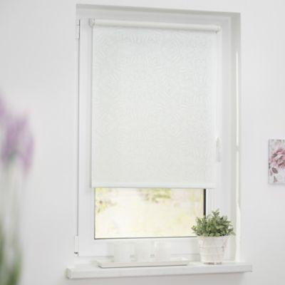 Rollo Klemmfix, ohne Bohren, blickdicht, Henna - Weiß Transparent weiß