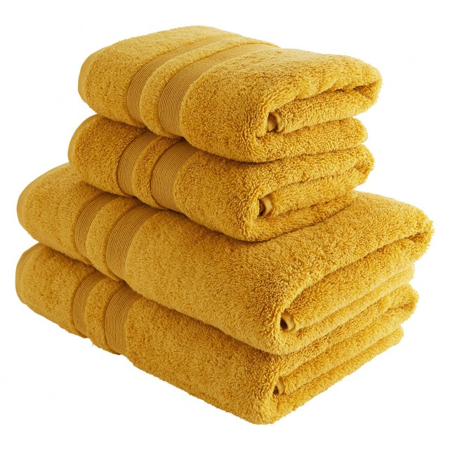 Spa Cotton Mustard Mustard Double Border Set Of 4 Towels In 2020 Towel Bath Towels Hand Towels