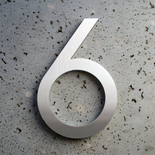 Modern house number aluminum modern font number six 6 6 inch by moderndwellnumbers