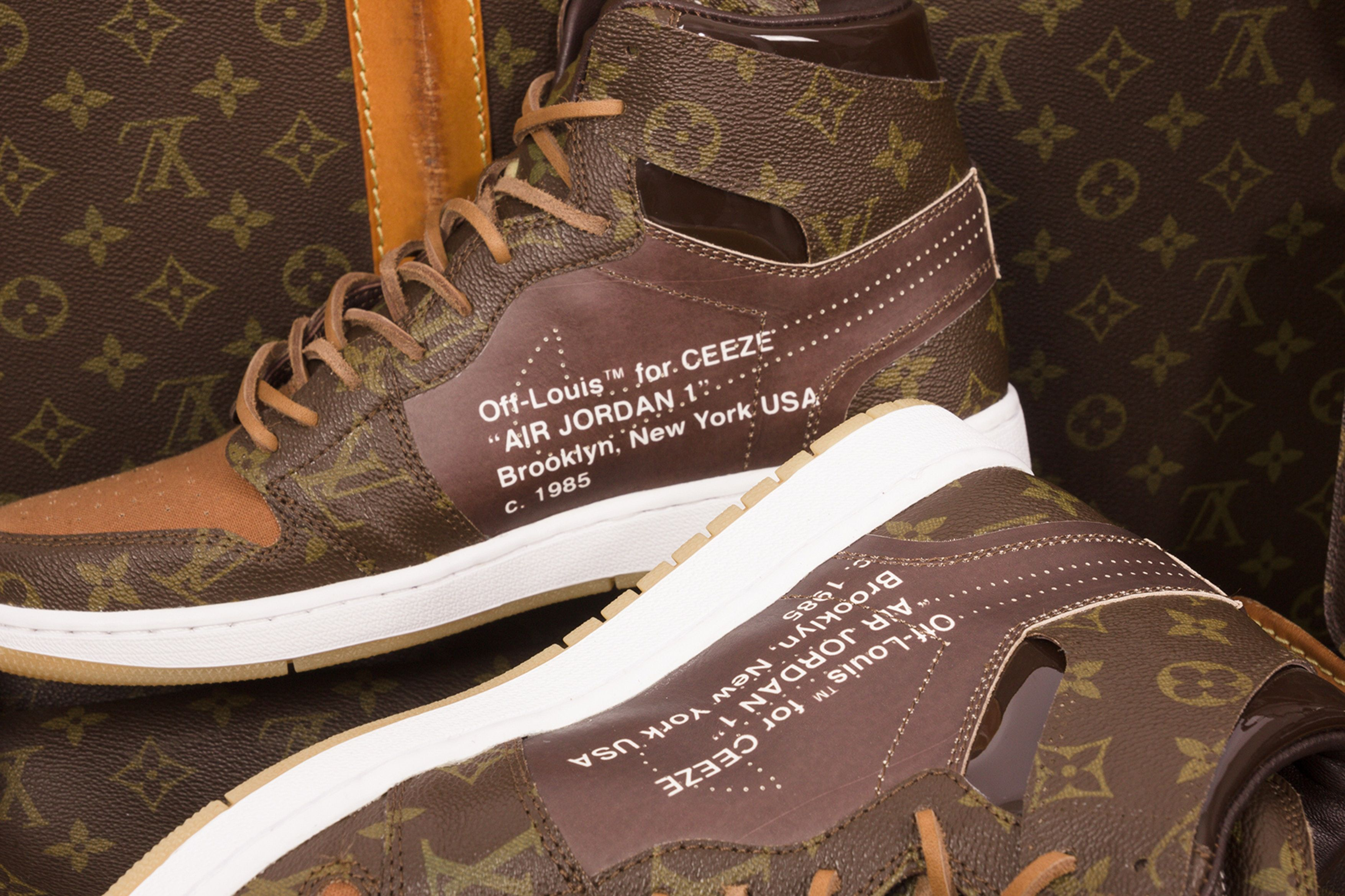 6729ce52cd7a Nike x Off-White x Louis Vuitton Air Jordan 1 Customs Monogram  4000 USD  Virgil Abloh CeezeMC Relevant Customs release details 1 of 10 sneakers  footwear how ...