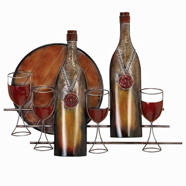 Wine Bottles And Glasses Metal Home Art Wall Decor Wine Wall Art Wine Wall Metal Wall Sculpture