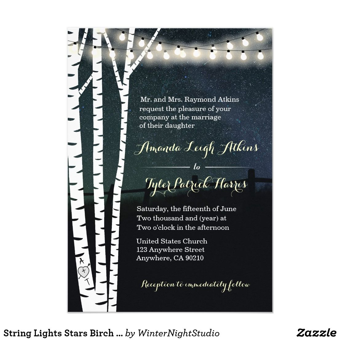 String Lights Stars Birch Tree Wedding Invitations Starry String ...
