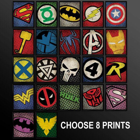 Set of 8 Superhero Kids Wall Art Decor Nursery Superman ...