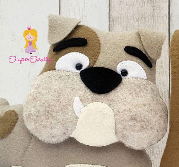 Felt pattern Bob & Eddy, softie pattern for a dog, plush pattern ...