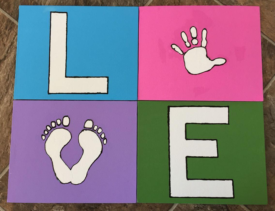 Hand print LOVE sign.